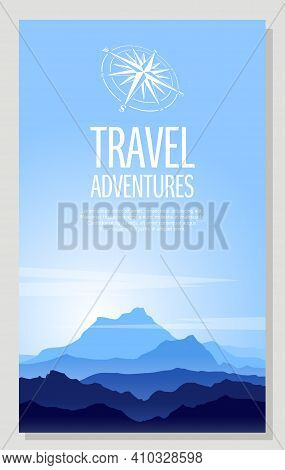 Poster Of High Blue Rocky Mountains With Copy-space