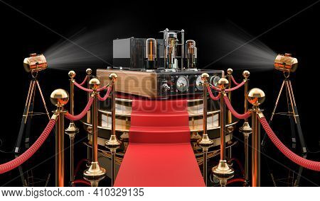 Podium With Electronic Amplifier, 3d Rendering Isolated On Black Background