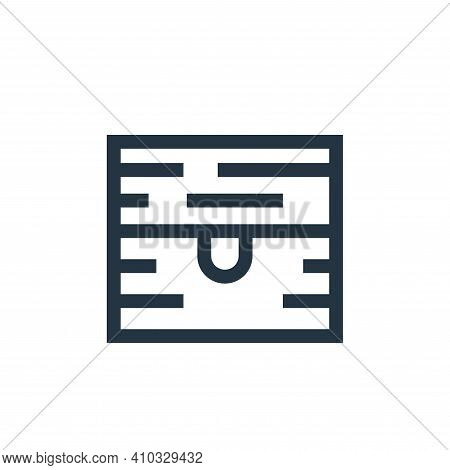 chest icon isolated on white background from video game elements collection. chest icon thin line ou
