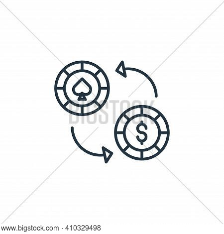 casino chip icon isolated on white background from casino collection. casino chip icon thin line out