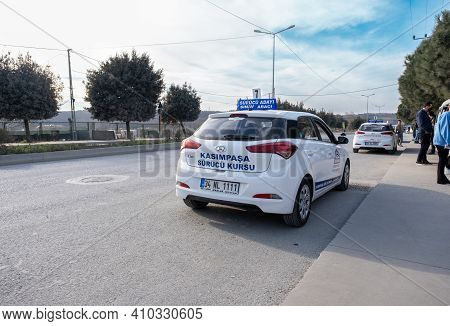 Kemerburgaz, Istanbul, Turkey - 02.18.2021: Driving Test Vehicles Waiting For Learner Drivers In Tes