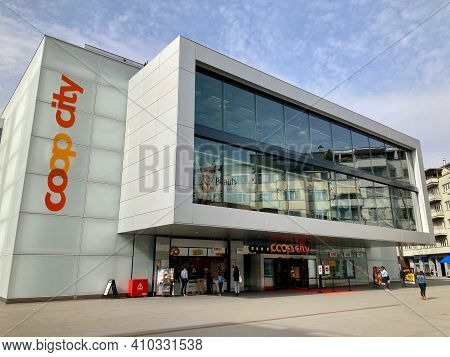 Zug, Switzerland - 26th February 2021 : View Of The Coop City Department Store Located In The City O