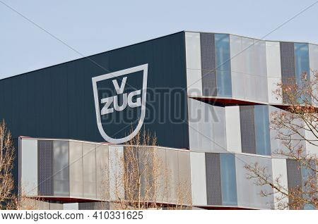 Zug, Switzerland - 26th February 2021 : V-zug Ag Company Sign At The Headquarters Building In Zug, S