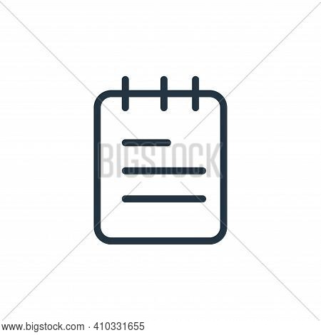 notes icon isolated on white background from work office supply collection. notes icon thin line out