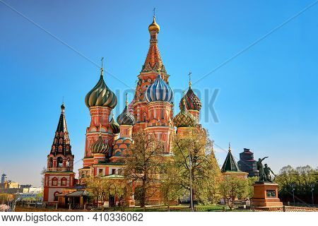 Colorful Domes Of The St. Basil's Cathedral On A Summer Day. Red Square In Moscow, Capital Of Russia