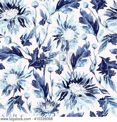 Nature Calm Seamless Pattern With Chrysanthemum Flowers In New Fresh Feel And Purity. Botanical Elem