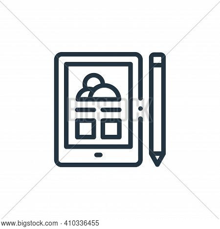 tablet icon isolated on white background from design thinking collection. tablet icon thin line outl