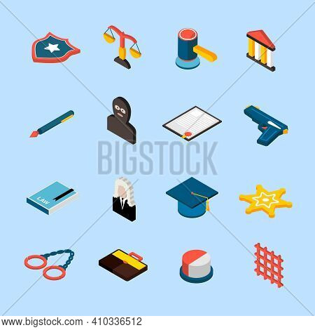 Law And Judgment Icons Isometric Set With Jury Attorney Handcuffs Isolated Vector Illustration