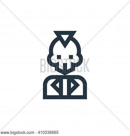 skull icon isolated on white background from rock and roll collection. skull icon thin line outline