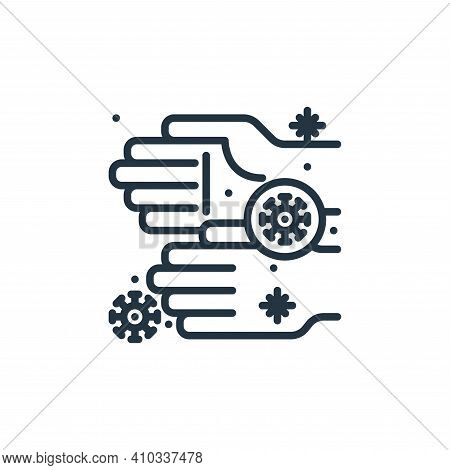 hand icon isolated on white background from virus collection. hand icon thin line outline linear han