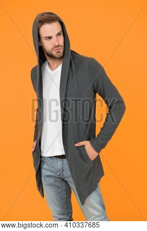 Sporty Style. Comfy Garment For Daily Life. Fashion Man Yellow Background. Fashion Look. Handsome Gu