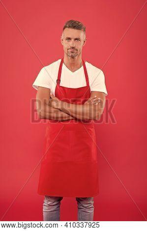 Handsome Barista. Hiring Concept. Barista Worker. Man Cook Wear Apron. Mature Barista. Restaurant St
