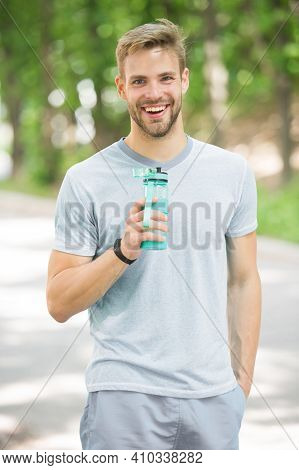 Healthy Lifestyle. Healthy Lifestyle Of Happy Sportsman. Athletic Man With Healthy Water Keep Sport