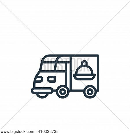 van icon isolated on white background from food delivery collection. van icon thin line outline line