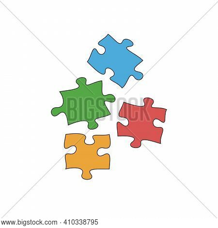 Four Jigsaw Hand Drawn Colored Pieces, Cartoon Puzzle Falling Pieces, Linear Black And White Icon, H