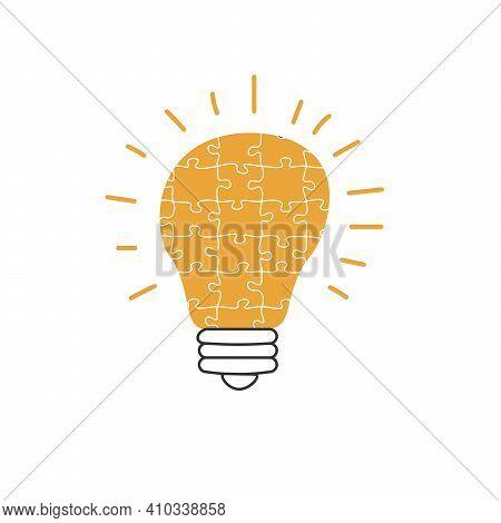 Hand Drawn Lightbulb Made Of Puzzle As Idea Concept, New Great Idea Illustration. Stock Vector Illus