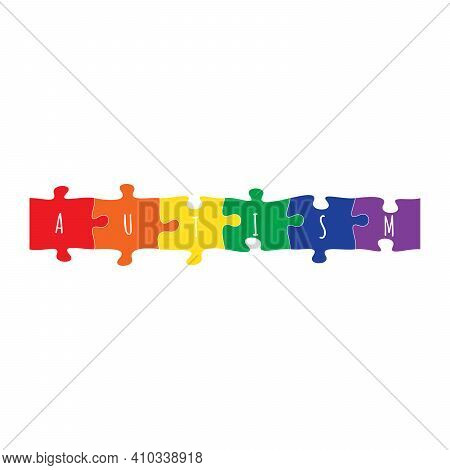World Autism Colorful Puzzle Pieces. Symbol Of Autism. Medical Flat Illustration. Health Care. Stock