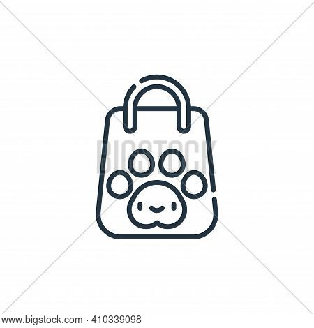 shopping bag icon isolated on white background from pets collection. shopping bag icon thin line out