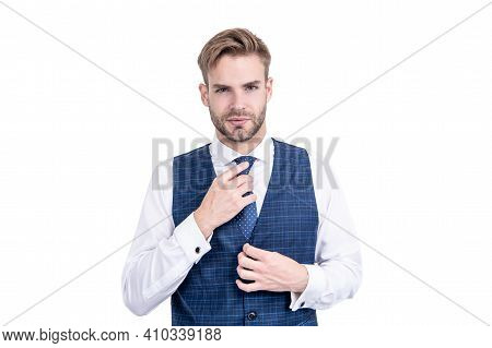 The Tie Gets Tough Again. Boss Wear Vest With Necktie. Fashion Accessory. Necktie Collection. Formal