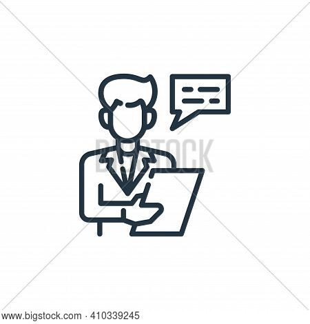 Salesman icon isolated on white background from insurance collection. Salesman icon thin line outlin
