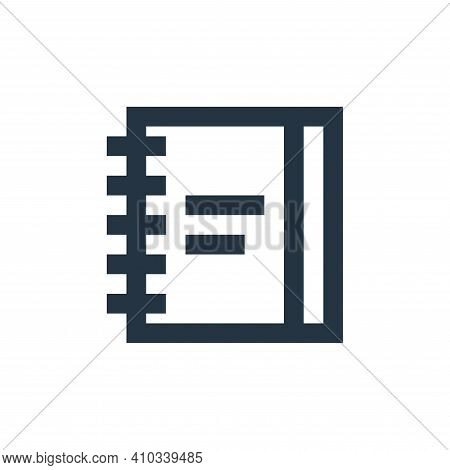 notebook icon isolated on white background from office stationery collection. notebook icon thin lin