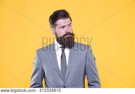 Because You Worth It. Businessman Formal Suit. Mature Bearded Man Ceo. Successful And Charismatic Bo