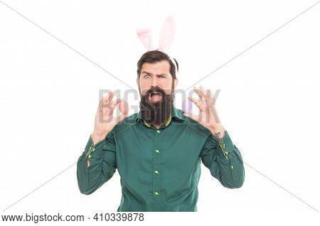 Funny Man In Rabbit Ears. Brutal Easter Man Isolated On White. Bunny Egg Hunt. Just Having Fun. East