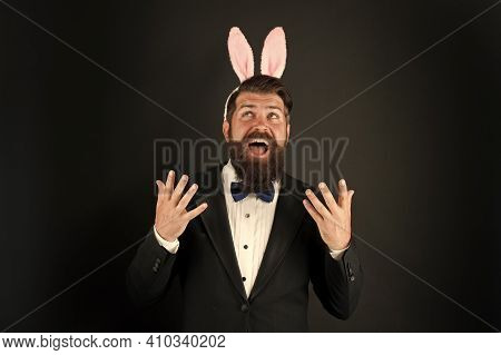 Pleasure To Come. Happy Boss Celebrate Easter. Businessman Wear Rabbit Ears. Happy Holiday Celebrati