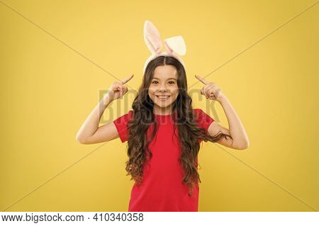 Happy Child In Costume. Bunny Rabbit With Ears. Kid On Easter Egg Hunt. Teen Kid In Rabbit Costume H