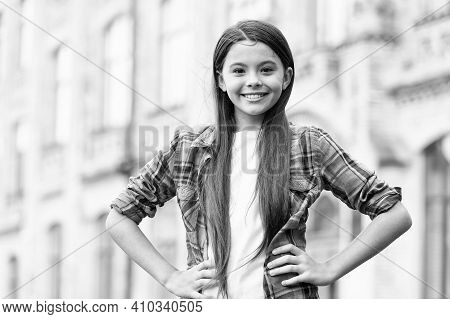 For Ultimate Comfort. Fashion Look Of Happy Girl. Little Fashionista In Casual Style Outdoors. Cloth