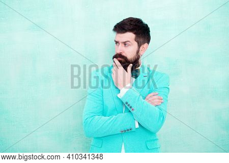 Tips For Grooms. How To Beat Nerves On Wedding Day. Man Bearded Hipster Formal Suit With Bow Tie. We