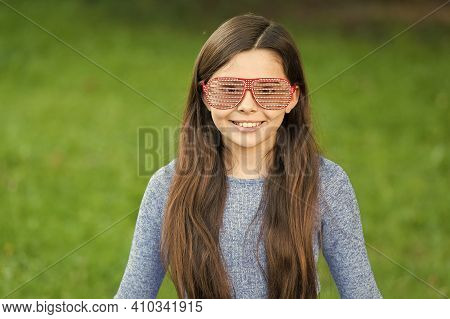 Accessory For Summer. Happy Girl Wear Fancy Glasses. Little Child With Party Look. Fashion Party Acc