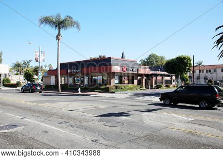 Santa Ana, California - USA - February 25, 2021: Jack in the Box Restaurant. A Jack in the Box fast food restaurant with drive through window. Due to Covid-19 only Drive Through is acceptable.