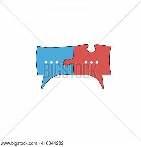 Red And Blue Chat Icon Or Speech Bubble As Puzzle. Communication Process, People Interaction, Speech