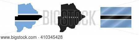 Botswana. Map With Masked Flag. Detailed Silhouette. Waving Flag. Vector Illustration Isolated On Wh