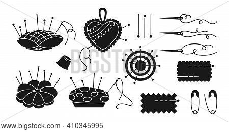 Sewing Needle Bed Glyph Set Needle Pin Vector