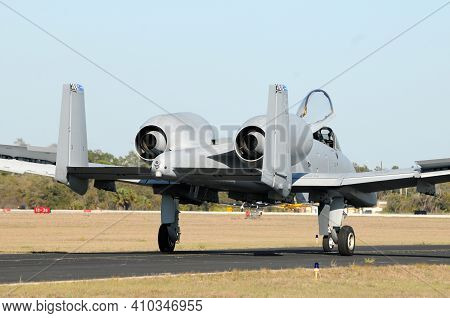 Air Force Jetfighter For Combat Warfare Taxxing On The Ground After Mission
