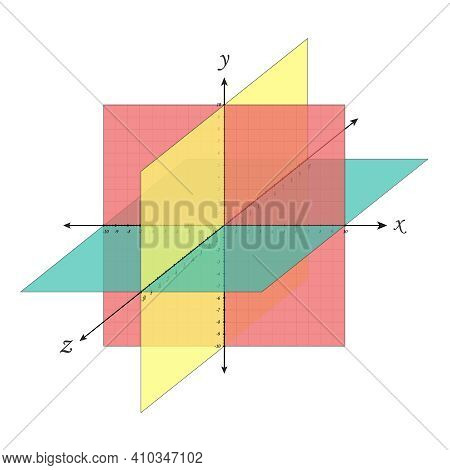 Cartesian Coordinate System Perspective Grid Three-dimensional. Vector Isometric Solid Shapes Projec