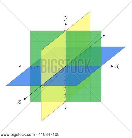 Cartesian Plane Navigation Coordinate System Perspective Grid Three-dimensional. Vector Isometric So