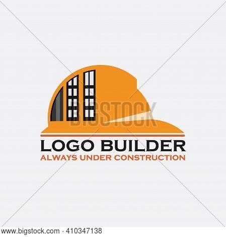 Helmet Design Logo Construction. Helmet Building Logo Vector