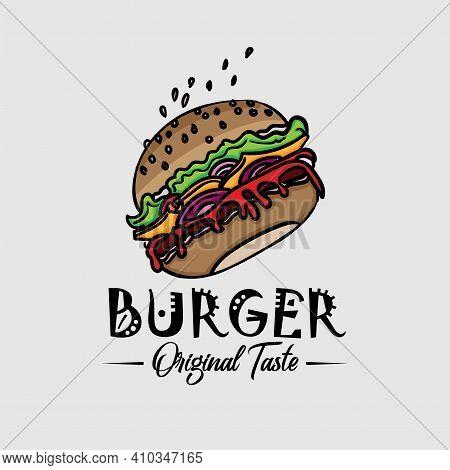 Burger Illustration Design Vector. Burger Design Logo Vector