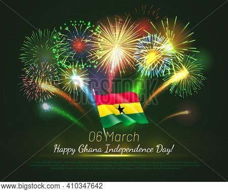 Fireworks Background For Ghana Independence Day. National Day Of Ghana African Country Festive Banne