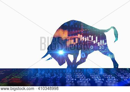 Silhouette Form Of Bull On Financial Stock Market Graph Represent Stock Market Rising Or Uptrend Inv