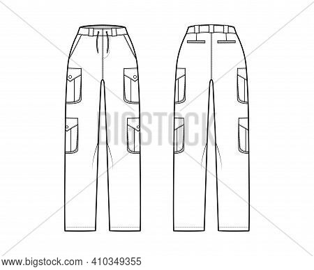 Set Of Cargo Pants Technical Fashion Illustration With Normal Waist, High Rise, Pockets, Belt Loops,