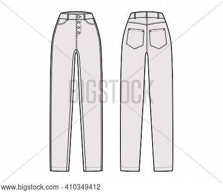 Jeans Botton Fly Tapered Denim Pants Technical Fashion Illustration With Full Length, Normal Waist,