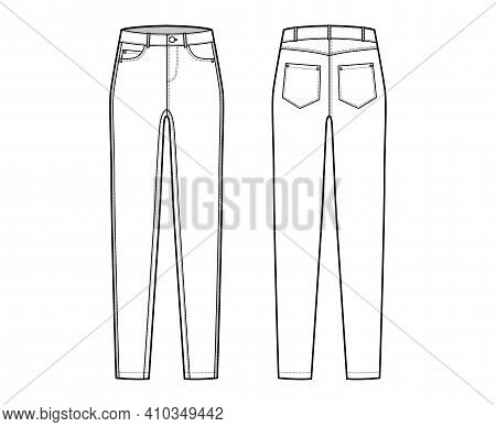 Jeans Tapered Denim Pants Technical Fashion Illustration With Full Length, Low Waist, Rise, 5 Pocket