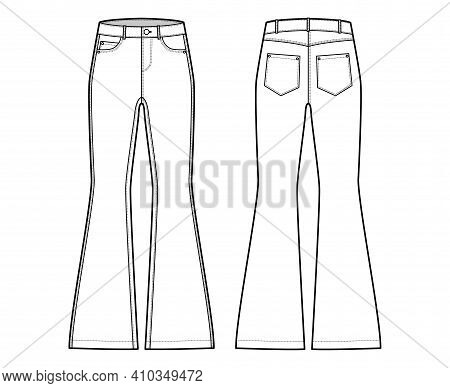 Jeans Flared Bottom Denim Pants Technical Fashion Illustration With Full Length, Low Waist, 5 Pocket
