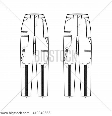 Set Of Bondage Pants Technical Fashion Illustration With Normal Low Waist, High Rise, Pockets, Belt