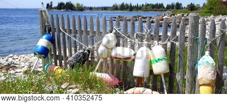 Colorful Buoys Hanging On A Ocean Shoreline Fence