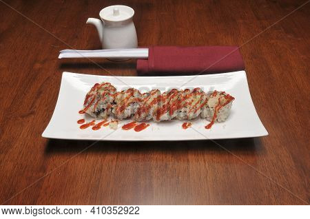 Traditional And Authentic Japanese Cusine Know As A Tnt Crunch Sushi Roll